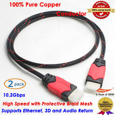 2-Pack Braided 24K Gold HDMI to HDMI Cable 3 feet - Protective Nylon Jacket