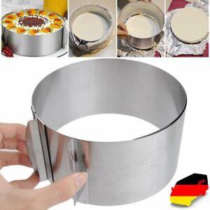 Edelstahl Tortenring Kuchenring Backrahmen Backform mit Skala 16-30cmVerstellbar