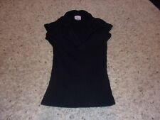 "Womens ""One Step Up"" Black Short Sleeve V-Neck Blouse Size S"