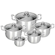 5pc Stainless Steel Cookware Set Casserole Stockpot Pot Hob With Glass Lids
