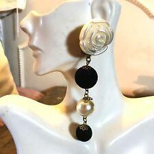 VTG Earrings Runway tassel Rose pearl dangle lucite Party dinner fancy statement