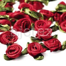 50pcs Satin Ribbon Rose Flower Craft Wedding Appliques Favor DIY Lots Red IF