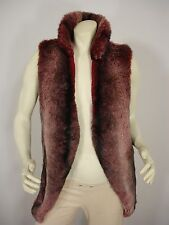 STORY OF LOLA FAUX FUR LONGLINE OPEN FRONT SLEEVELESS JACKET VEST WOMEN'S S / M