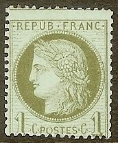 """FRANCE STAMP TIMBRE N° 50 """" CERES 1c VERT-OLIVE 1872 """" NEUF xx TB"""