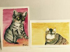 """Set Of Two Watercolor Paintings 9 X 6"""" On Paper """"Ellie's Kitties"""" Signed 50A8916"""