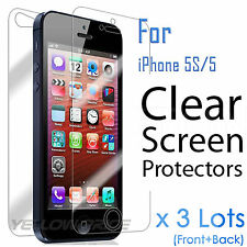 6pcs=3x(Front+Back) HD Clear Screen Protector Cover Film For Apple iPhone 5 5S