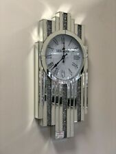Slim Diamond Shape Art Deco Mirrored Crushed Diamante Jewel Crystal Wall Clock