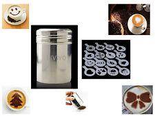 LIVIVO S/steel Chocolate Shaker Duster 16 Cappuccino Coffee Barista Stencils