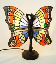 ART DECO BUTTERFLY ANGEL FAIRY TIFFANY STAINED GLASS LAMP With Metal Base