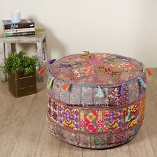Bohemian Patchwork Pouf Cover Ottoman Ethnic Decor Indian Pouffe Foot Stool 21""