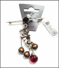 NEW PILGRIM DENMARK SILVER  PLATED ANGEL RED CRYSTAL BEADS BROOCH PIN HANDMADE