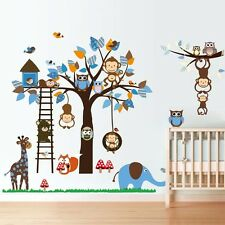 New Animals Zoo Monkey Owl Branch Removable Kids Wall Stickers Decal Nursery