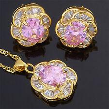 Brass Set Pink Sapphire Flower Oval Cut Necklace Pendant Earrings(Y)