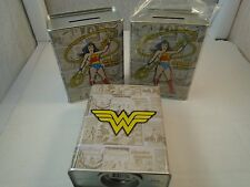 Lot 3 DC COMICS Wonderwoman FIGHTING CRIME COMIC BOOK TIN MONEY BANK NEW