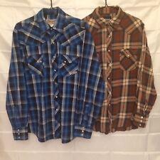 Wrangler Rancher pearl snap shirt and regular lot of 2 men's size large