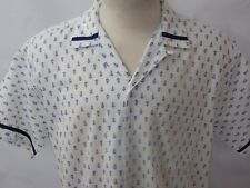50's Penny's Blue & White Short Sleeve Shirt Size L Loop Collar Elvis