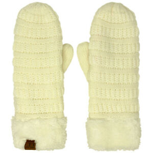 CC Super Thick Fuzzy Fleeced Lined Warm Winter Knitted Mittens Gloves