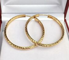 18k Solid Yellow Gold Cute Hoop Earrings 30mm .Diamond Cut Design. 3.33 grams