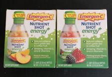 Lot of 2 EMERGEN-C Nutrient Shot Energy+ - Peach-Mango + Pom-Berry - Exp 03/21+
