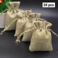 24x toile jute Hessian cordon de Noël cadeau de mariage faveur sacs sac pochette