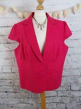M&S lined jacket Size 22 hot pink linen blend cap sleeve Marks & Spencer vibrant