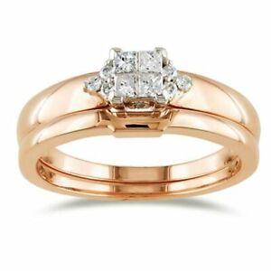 0.39 Ct Square Princess Simulated Engagement Bridal Set Ring 10K Rose Gold