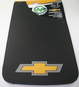chevy chevrolet gold bow tie 11x19 mud guards flaps 2 mudflaps yellow & gray