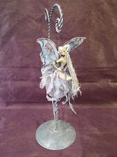 HANGING FAIRY SITTING ON CRACKLED GLASS BALL | 7"