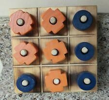 Rustic Wooden Tic-Tac-Toe Game Set 6 X 6  Orange & Blue Pieces - UF Colors