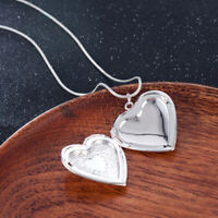 Fashion 925 Silver Heart Necklace Locket Photo Pendant Wedding Jewelry Gift ~