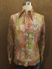 Classy Vtg Colorful FRENCH GODDESS Semi Sheer Nylon Button Down Shirt 10/30 NEW