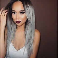 Superwigy? Long Straight Hair Two Tone Black and Grey Ombre Wig Heat Resistant