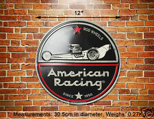 American Racing Hot Rod Wheels Embossed Metal Sign Wall Decor Garage Display Ad