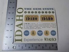 SRM IDAHO THE GEM STATE TRAVEL WORDS DEFINITION STICKERS SCRAPBOOKING NEW A3380