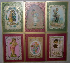 Lot of 6 Victorian Children Greetings Postcards Repro - Continental Size