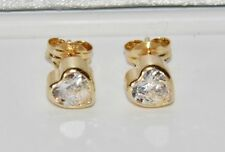 9ct Yellow Gold 0.75ct Heart Solitaire Bezel Set Ladies Stud Earrings -