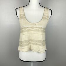 Urban Outfitters Sparkle & Fade Gold Ivory Ruffle Lace Crop Top Tank Size Small