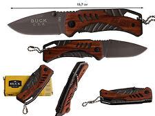 Couteau Compact Pliant de Poche BUCK Lame Acier 7 cm Manche Bois Gravé 8,5cm