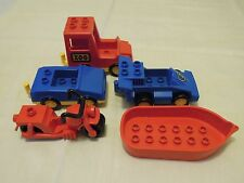 lego duplo fahrzeug set #2 zoo van, auto, boot, motorfahrrad & rennauto #d7