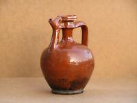 Antique Primitive Redware Jug Pitcher for Vinegar Jar Pot Canna Ewer Marked 20th