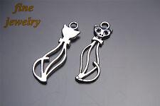 40Pcs 34mm Cute Cat Charms Pendant Linker Bail Tibet Siver DIY Jewelry Bead 7128