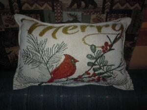 CHRISTMAS THROW PILLOW RED BIRD CARDINAL MERRY NEW HANDMADE 18 X 12