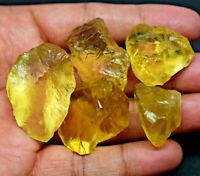302.5 Ct Natural Lemon Citrine Untreated 5 Pcs Transparent Specimen FACET Rough