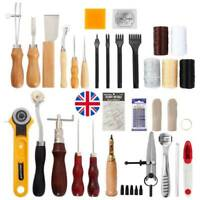 62pcs Leather Craft Tools Kit Hand Sewing Stitching Punch Carving Saddle Groover