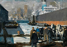 George Bellows - Men of the Docks - 1912, Museum Poster, Art Canvas Print