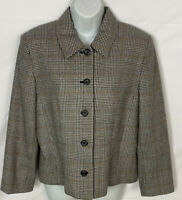 Pendleton Women's Blazer Size 14 Lined Plaid Jacket 100% Virgin Wool