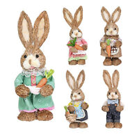 Spring Garden Party Ornaments Easter Artificial Bunny Rabbit Decoration Straw