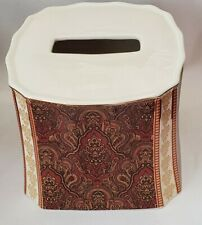 NEW CROSCILL GRAMERCY BURGUNDY GOLD PAISLEY TISSUE BOX COVER HOLDER