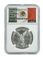 2018 Mexico 1/2oz Silver Onza Libertad NGC MS70 - Early Releases - Flag Label