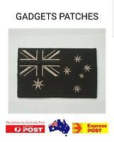 Australia Flag Patch Black n Grey Biker Harley Davidson Iron On Sew Badge